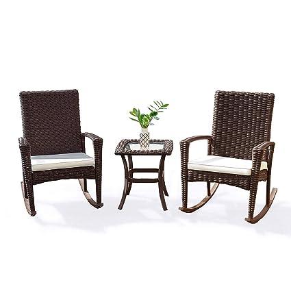 Fantastic Amazon Com Oldzon 3 Pcs Rattan Wicker Patio Furniture Set Machost Co Dining Chair Design Ideas Machostcouk