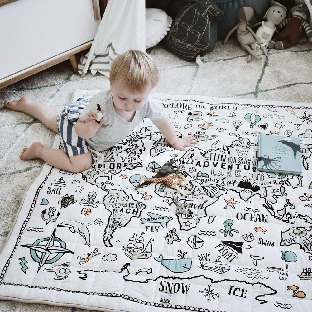Ozzptuu Explorer World Map Pattern Baby Crawling Mat Square Shape Carpet Game Rug Floor Play Mat Kids Room Decoration