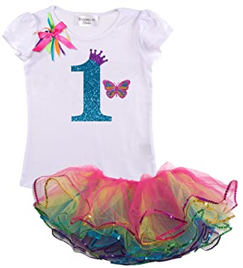 Bubblegum Divas Baby Girls 1st Birthday Rainbow Princess Butterfly Tutu Outfit 3