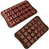 Jasinber Set de 2 Moldes de silicona para caramelo de chocolate para pasteles, caramelos duros y blandos, gomitas, gelatina (