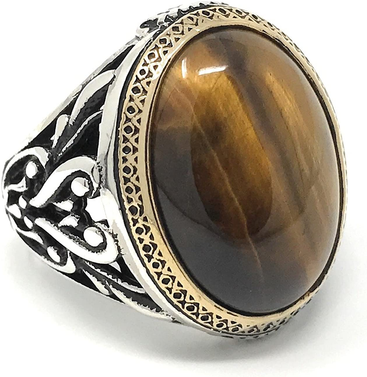KAR 925K Stamped Sterling Silver Filigree Tiger's Eye Men's Ring I1H