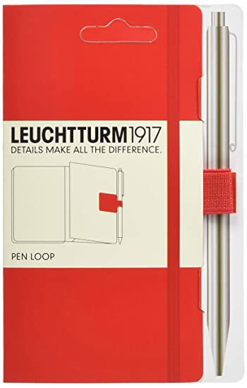 Leuchtturm1917 Self-Adhesive Pen Loop/Holder for Notebooks, Elastic, Red (339055)