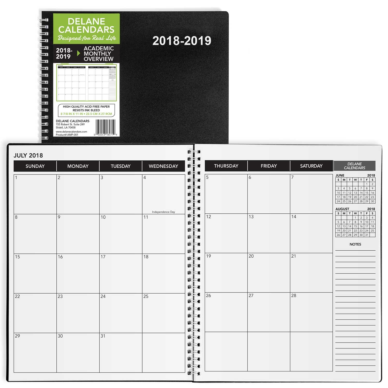 2018-2019 Academic Planner, 8.5'' x 11'', Premium Paper, Monthly Design Black Cover, Teacher and Student Planner, 18 Month Appointment Book