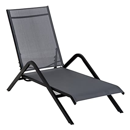Outsunny Steel Mesh Adjustable Portable Folding Outdoor Chaise Lounge Chair    Grey