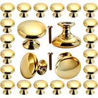 Cabinet knobs, POZEAN Gold Knobs 30 Pack Brushed Brass with Screws for Dresser Drawer Cabinet Cupboard, Perfect Kitchen…