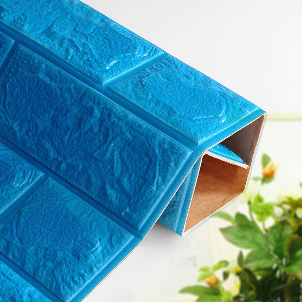 Khaki Tuscom PE Foam 3D Wallpaper DIY Wall Stickers Wall Decor Embossed Brick Stone,