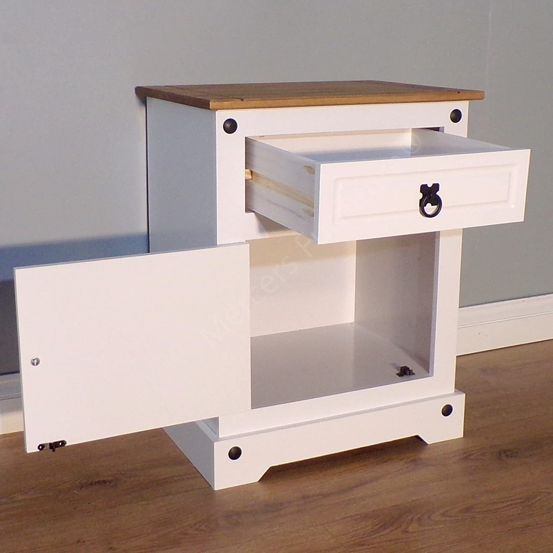 Mercers Furniture Corona Nachttisch 1/T/ür 1/Schublade grau lackiert h-57/cm w-53/cm d-39/cm