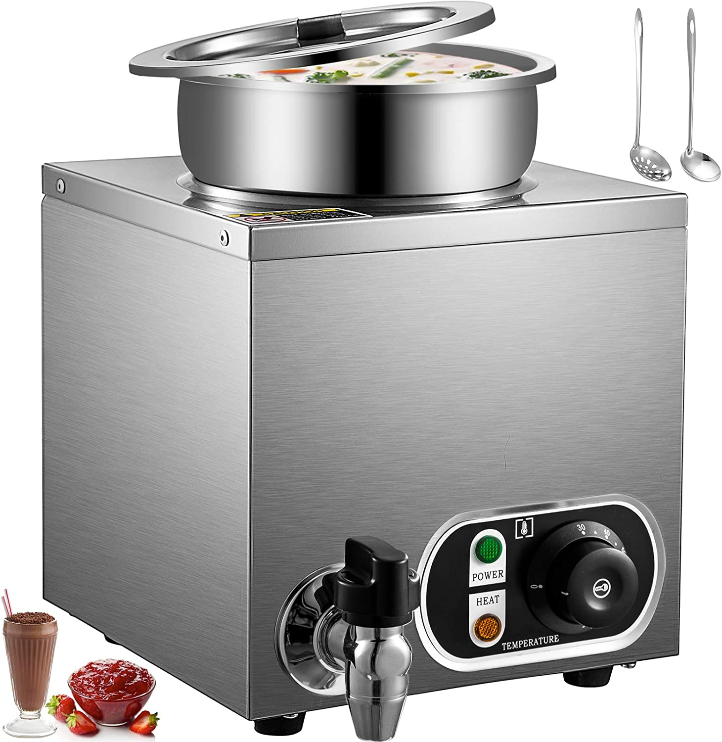 VEVOR 110V Commercial Food Warmer 4.2 Qt Capacity, 300W Electric Soup Warmer Adjustable Temp.32-185?, Stainless Steel Countertop Soup Pot with Tap, Bain Marie Food Warmer for Cheese/Hot Dog/Rice