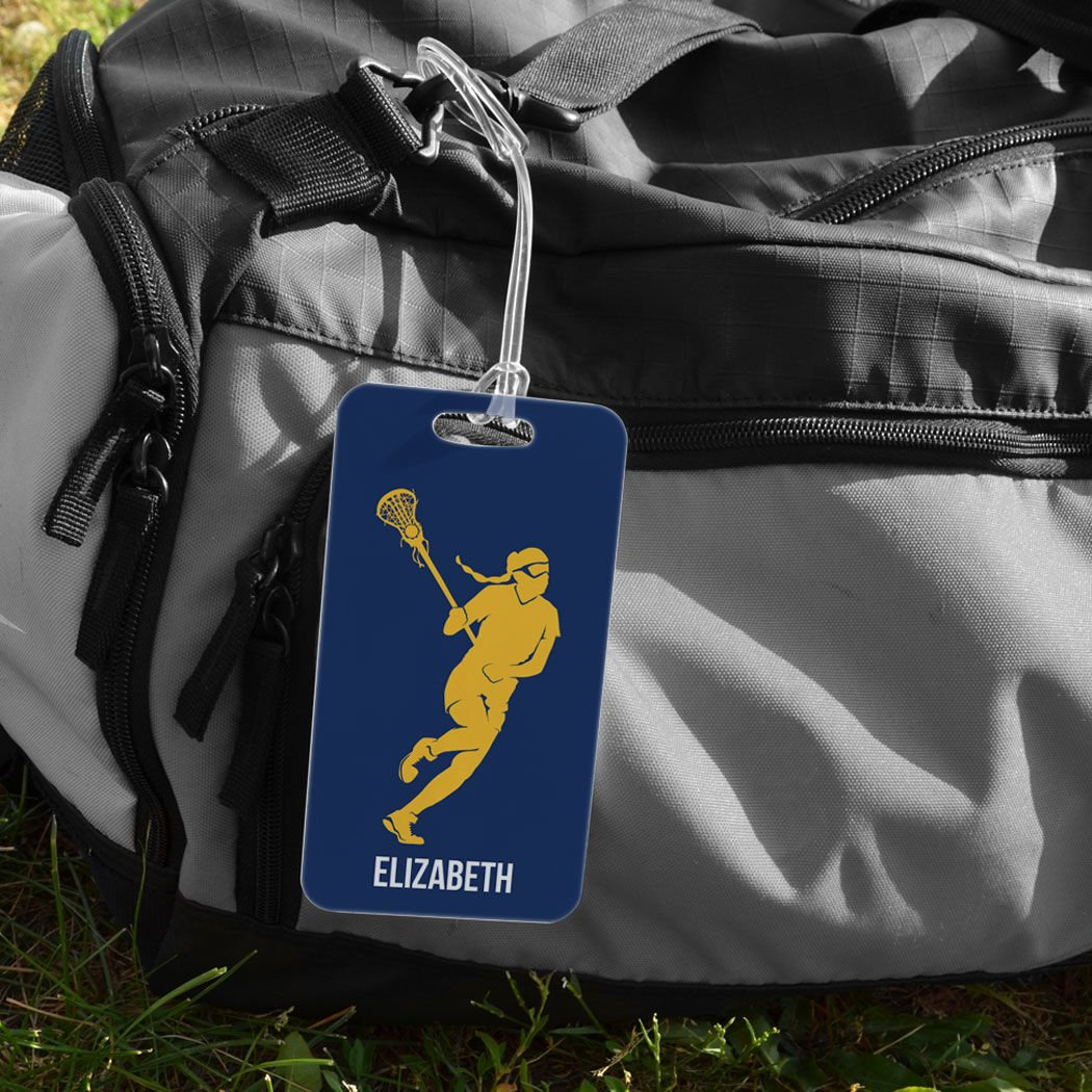 Personalized Lax Player CAROLINA//NAVY Girls Lacrosse Luggage /& Bag Tag LARGE Standard Lines on Back