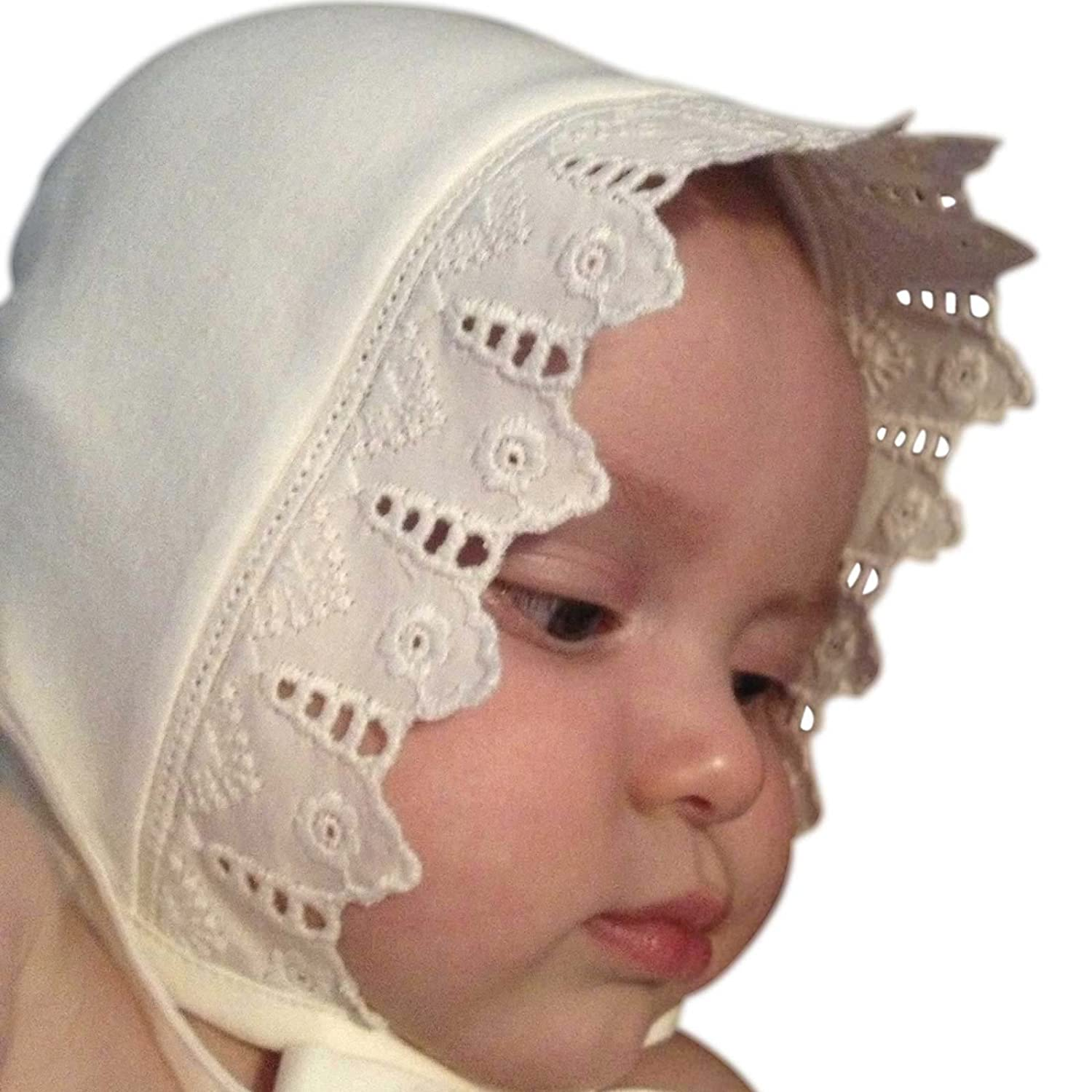 Vintage Style Children's Clothing: Girls, Boys, Baby, Toddler Victorian Organics Girls Bonnet Organic Cotton and Lace Toddler Hat $28.00 AT vintagedancer.com