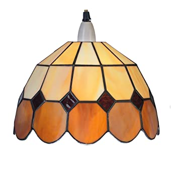 Small Amber u0026 Beige Bistro Dome Tiffany Pendant Ceiling Light Shade