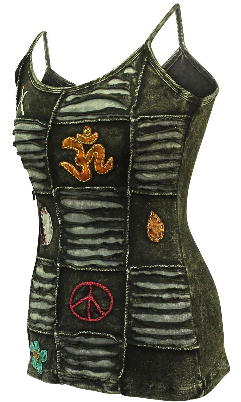 Shopoholic Fashion verblichen schwarz Fest Damen Emo Goth zerschnitten Tank Top