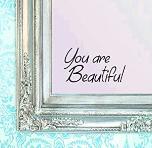 """BERRYZILLA You are Beautiful Decal 8"""" x 4.75"""" Motivational Hello Quote Gorgeous Wall Sticker for Mirror, Windows or Walls Decoration Decor Brand by Stickerciti"""