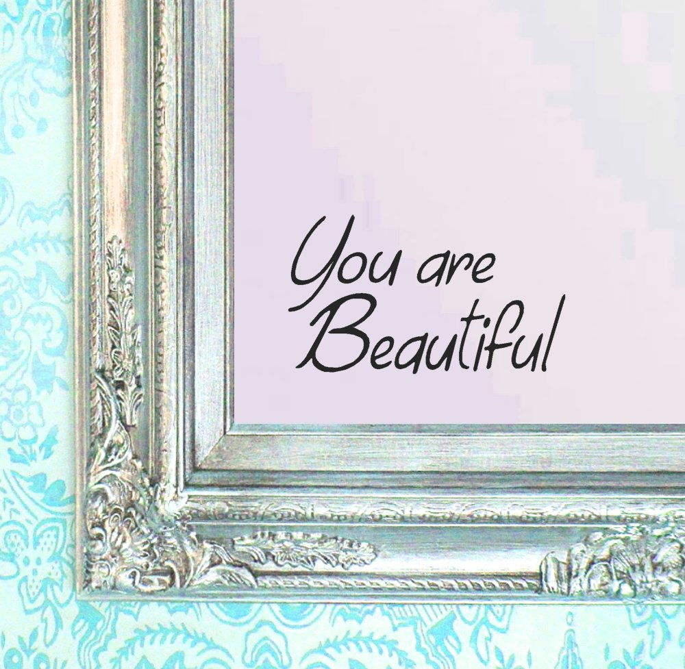 "BERRYZILLA You are Beautiful Decal 8"" x 4.75"" Confidence Quote Gorgeous Wall Sticker for Mirror, Windows or Walls Decoration Decor BERRYZILLA"