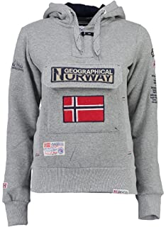 Assort Norway blended Capuche Gymclass Lady shirt À X Sweat A Femme large Grey Grau Geographical dtaqnPa