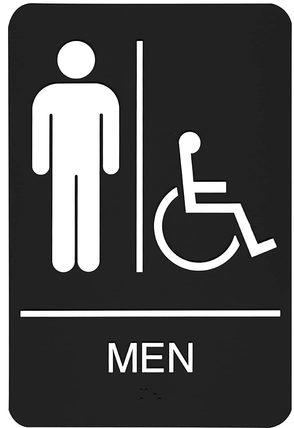 Amazon.com: Headline Sign 9003 ADA Wheelchair Accessible Menu0027s Restroom Sign  With Tactile Graphic, 6 Inches By 9 Inches, Black/White: Office Products