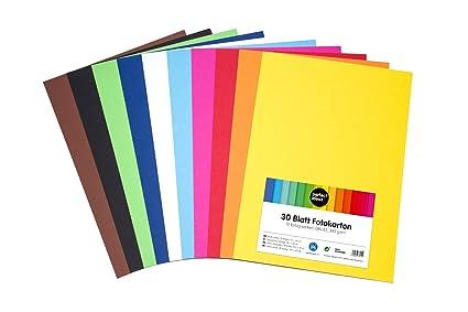perfect ideaz cartulina cuché A3 de colores 30 hojas, cartulina, de color, en 10 colores diferentes, grosor de 300g/m², hojas de la máxima calidad
