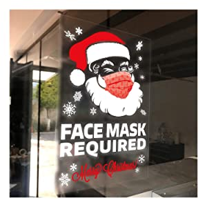 Christmas Face Mask Required Window Cling - 4 Pack 7x10 Inch - Premium Static Cling, Face Covering Removable for Holiday Season, to Install Inside Your Windows or Glass Door