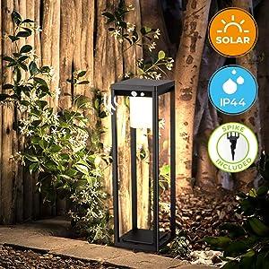 BRIMMEL Outdoor Solar Landscape Floor Lamp 60W with Motion Sensor. Aluminum Waterproof 10H Endurance Cordless Landscaping Garden Light for Lawn Patio Yard Driveway, Solar Energy, Black, 20