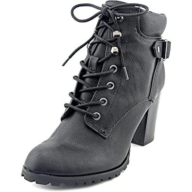 Caitlin Women Caitlin Leather Closed Toe Ankle Combat Bootie Black 9 US