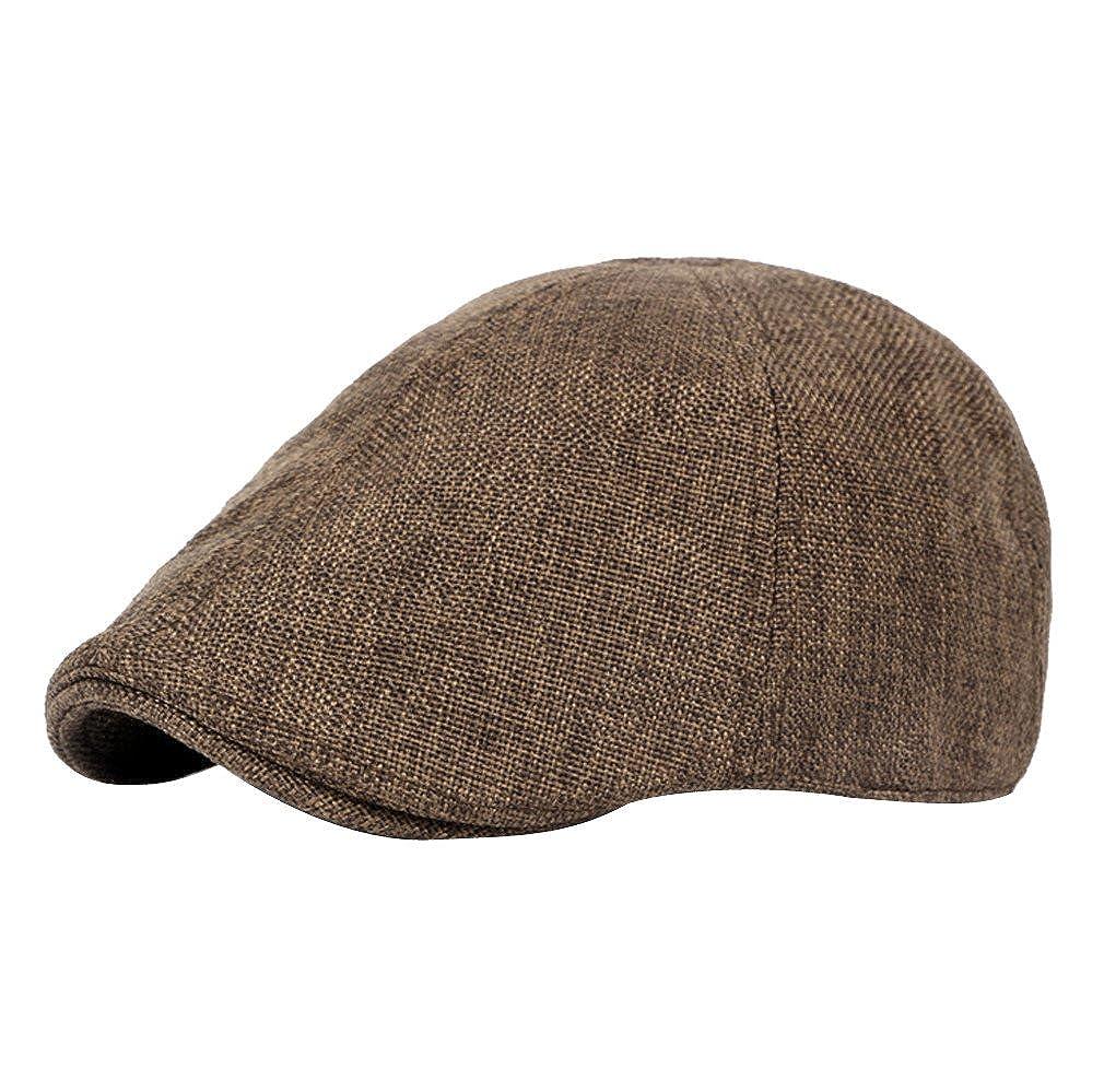 ACVIP Mens Linen Casual Newsboy Cap Sun Hat