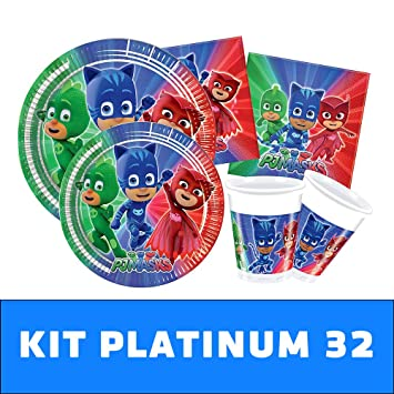 PJ Masks Kit TIPILIANO para NIÑOS | Birthday Party Kit, Pigiamini | Producto Original |