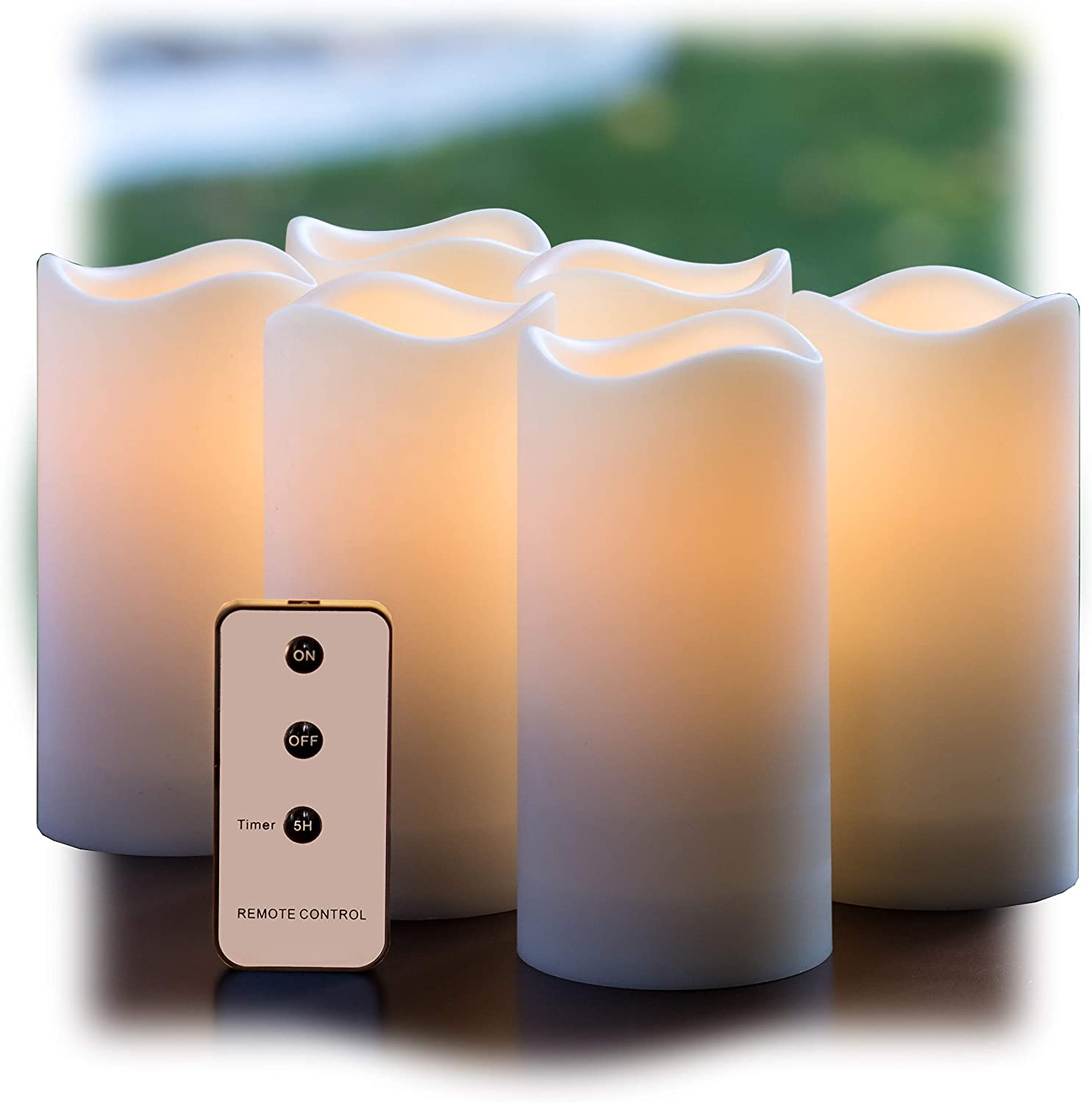 with Remote and Timer Realistic Flickering Battery Operated Powered Electric Electronic Plastic Resin Pillar Candles by Qidea 3-Pack 3x6 Waterproof Outdoor Flameless LED Candles