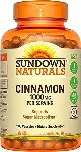 Sundown Cinnamon 1000 mg Capsules, 200 Count