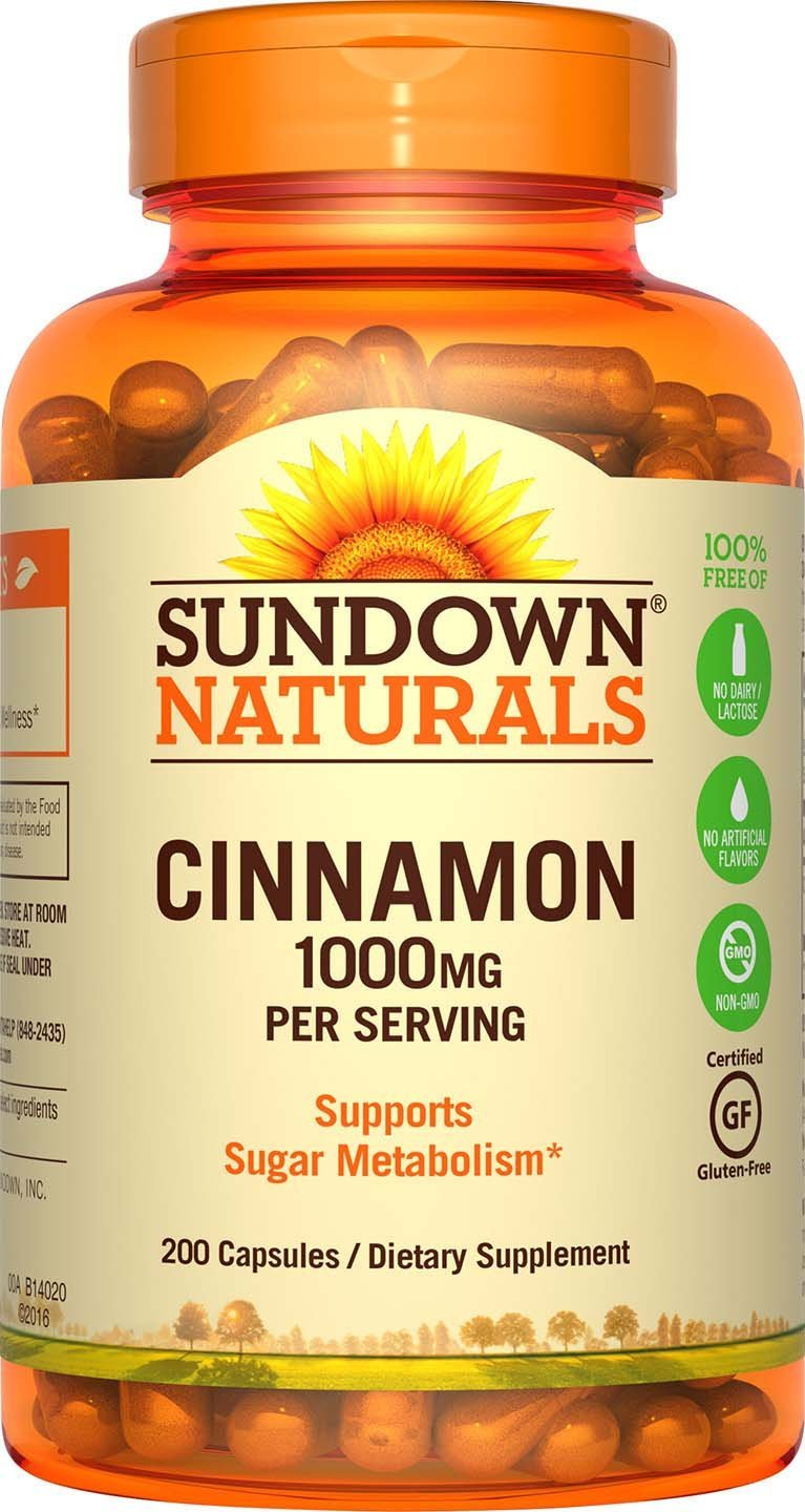 Sundown Naturals Cinnamon 1000 mg Capsules, 200 Count