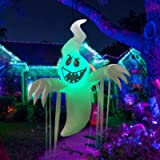 GOOSH 5 Feet High Halloween Inflatable Hanging Ghost with Built-in Colorful Flashing LED Light, Blow Up Yard Decoration Clear