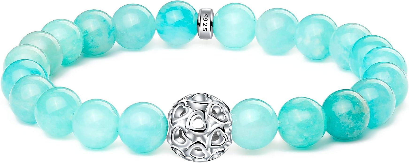 8mm Gemstone Bead Bracelet Genuine Gemstone Bracelet Sterling Silver Clasp Bracelet Amazonite Bracelet Matte Frosted Gemstone Bead