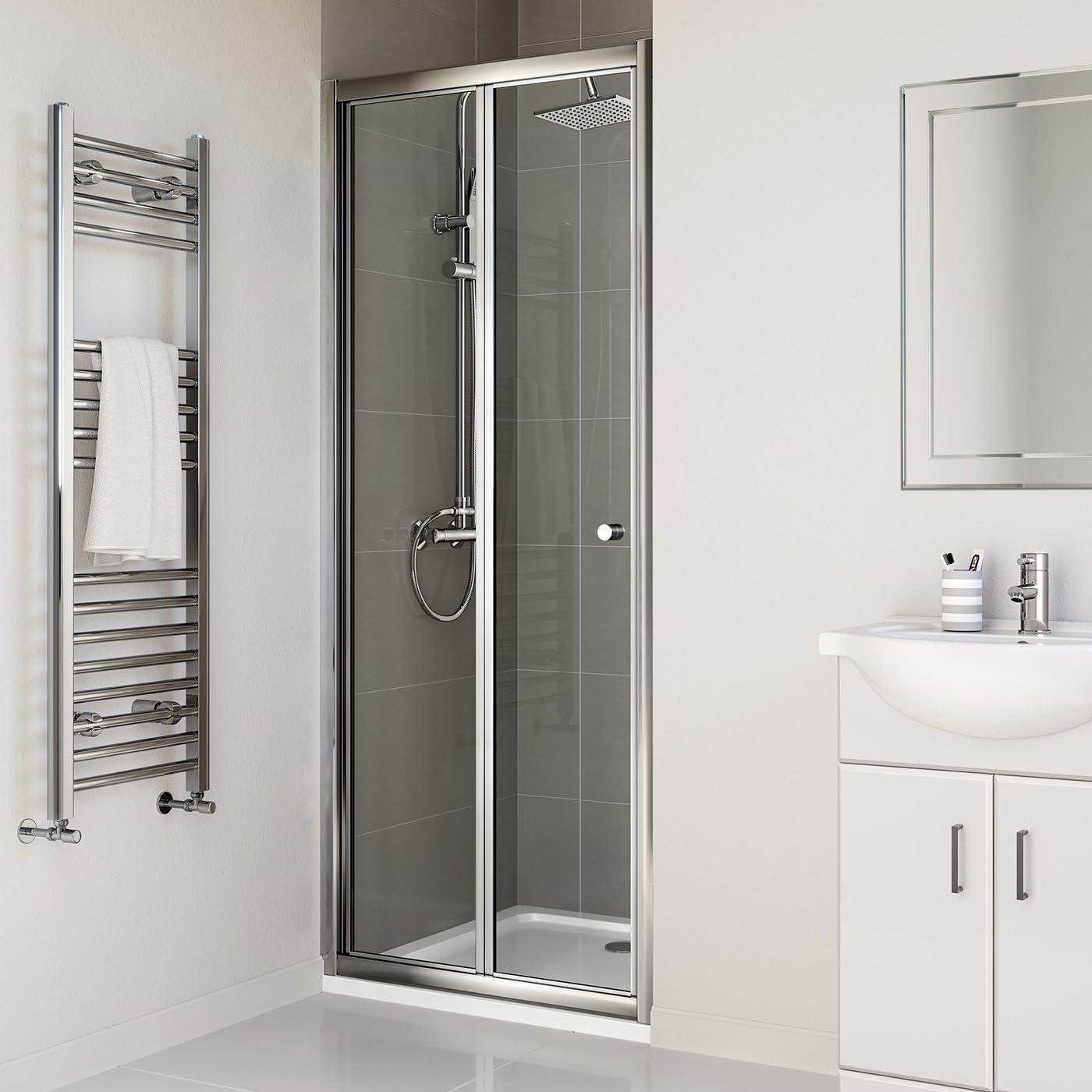 iBathUK 760mm Bifold Glass Shower Enclosure Reversible Folding Cubicle Door