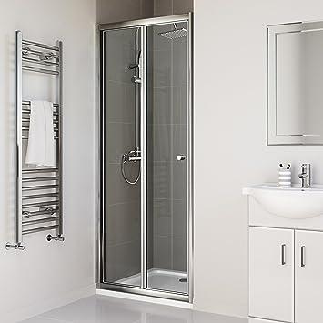 700mm Bifold Glass Shower Enclosure Reversible Folding Cubicle Door by iBathUK & Amazon.com: 700mm Bifold Glass Shower Enclosure Reversible Folding ...