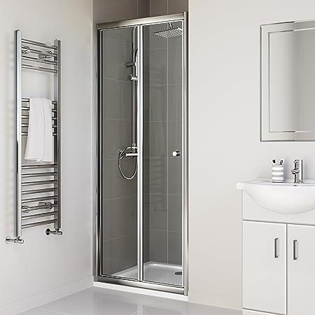 Ibathuk 900mm Bifold Glass Shower Enclosure Reversible Folding