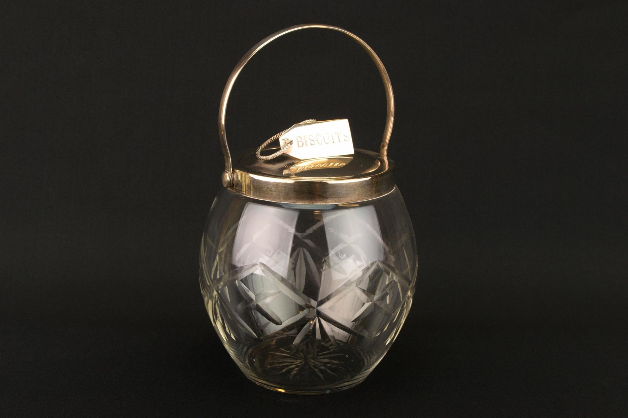 Cut Glass Kitchen Storage Jar Silver Plated Mounts Biscuit Barrel Shaped Vintage English 1920s