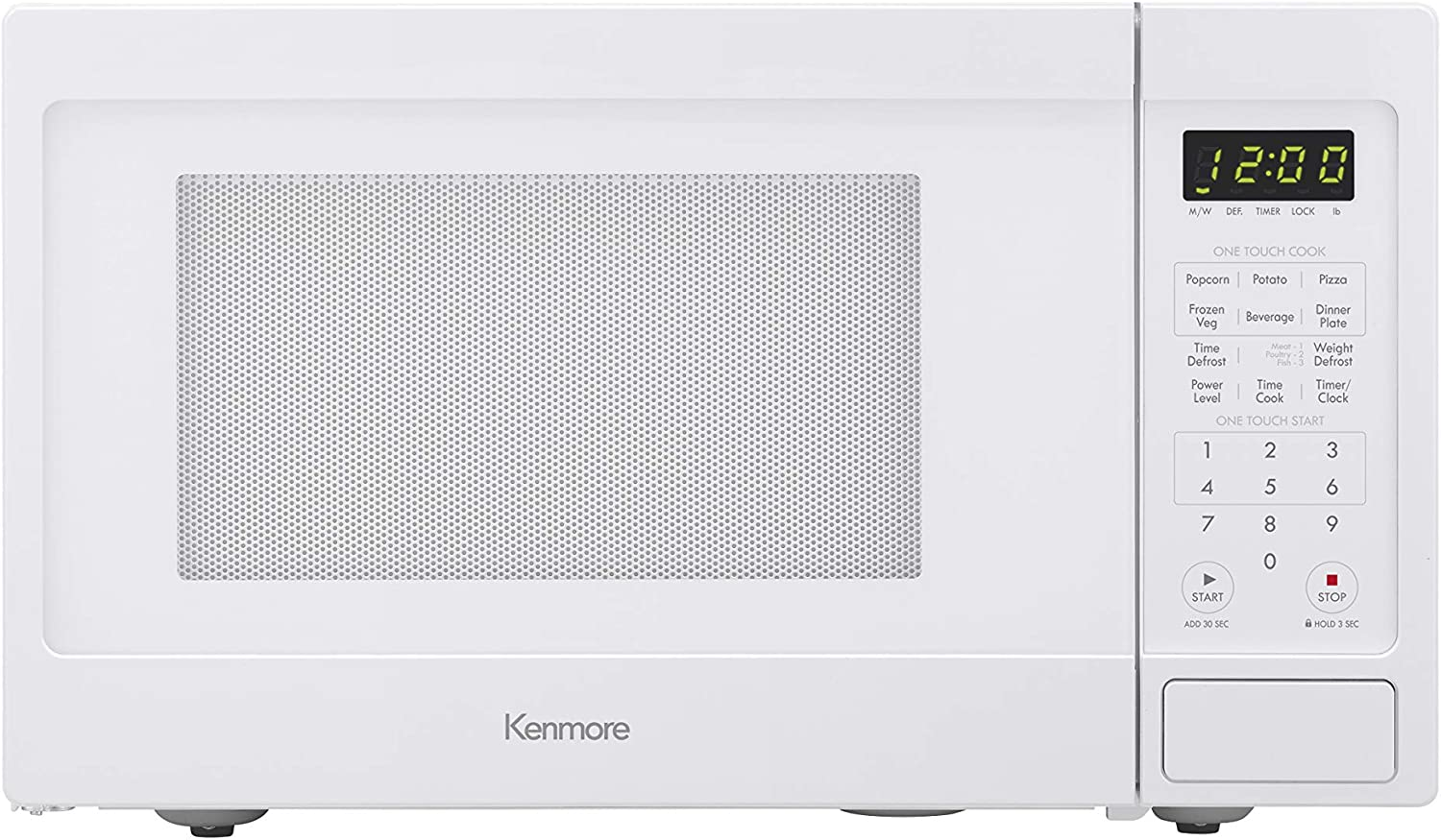 Kenmore 70922 0.9 cu. ft Small Compact 900 Watts 10 Power Settings, 12 Heating Presets, Removable Turntable, ADA Compliant Countertop Microwave, White