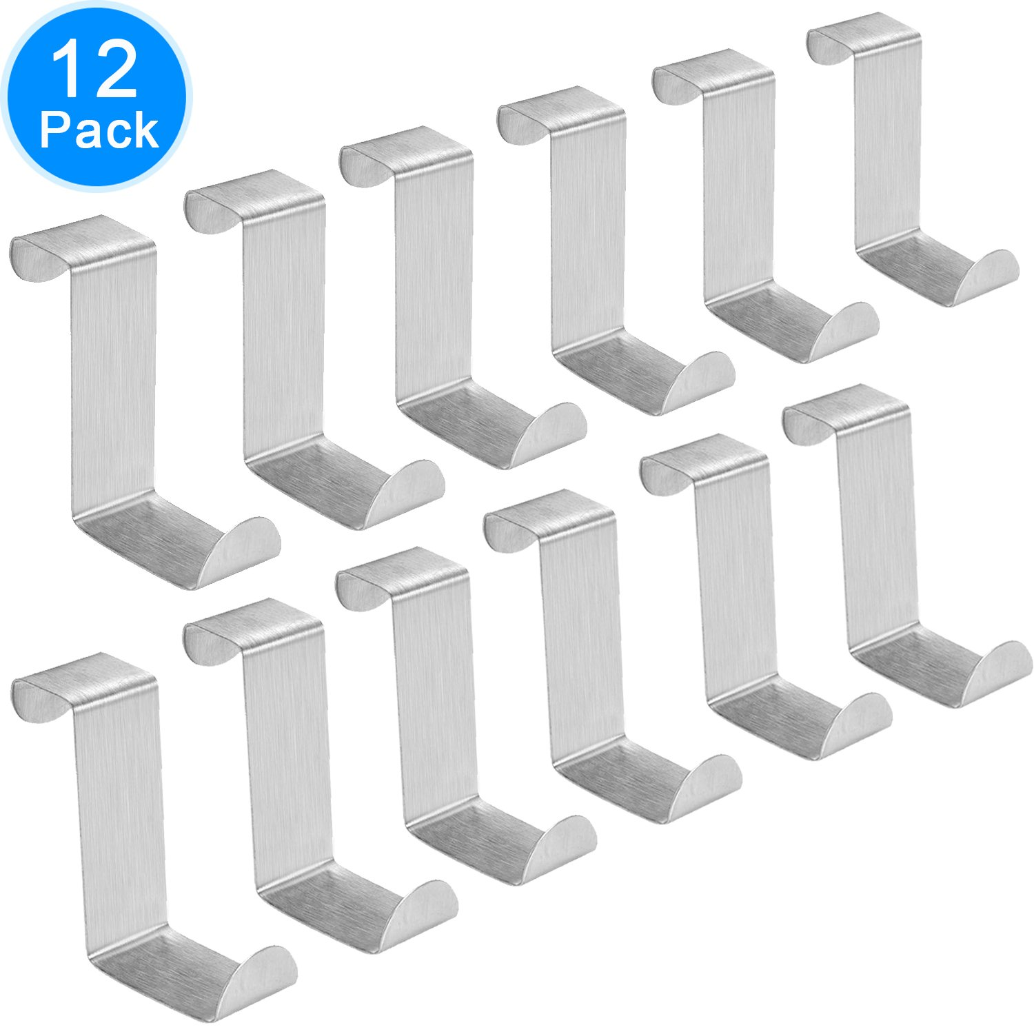 Austor Pack of 12 Stainless Steel Over Door Hooks Hanger for Office Kitchen Cabinet Draw Clothes