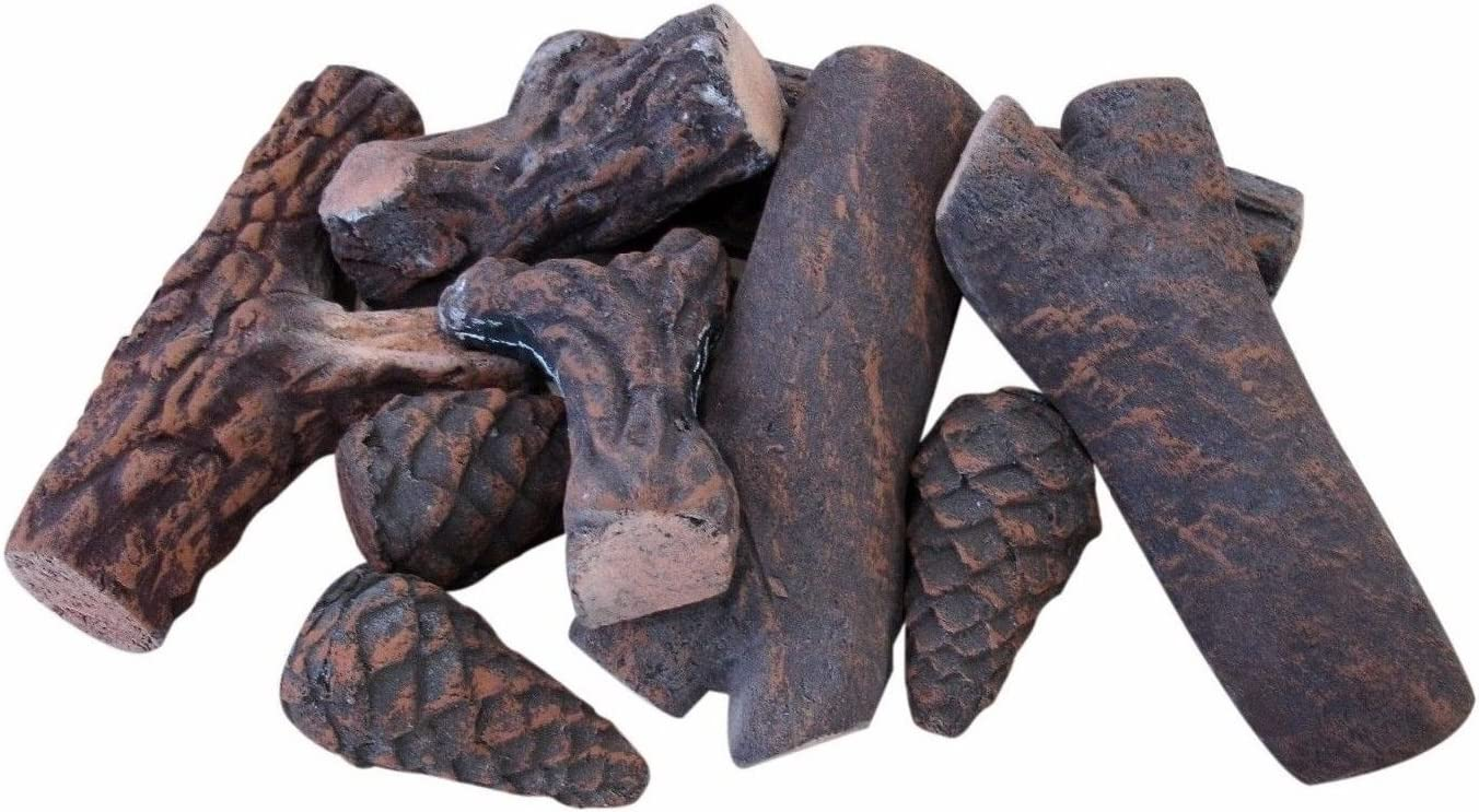 Small Gas Fireplace Logs 9 Piece Set of Ceramic Wood Logs. All Types of Indoor, Gas Inserts, Ventless & Vent Free, Electric, or Outdoor Fireplaces & Fire Pits. Realistic Clean Burning Accessories