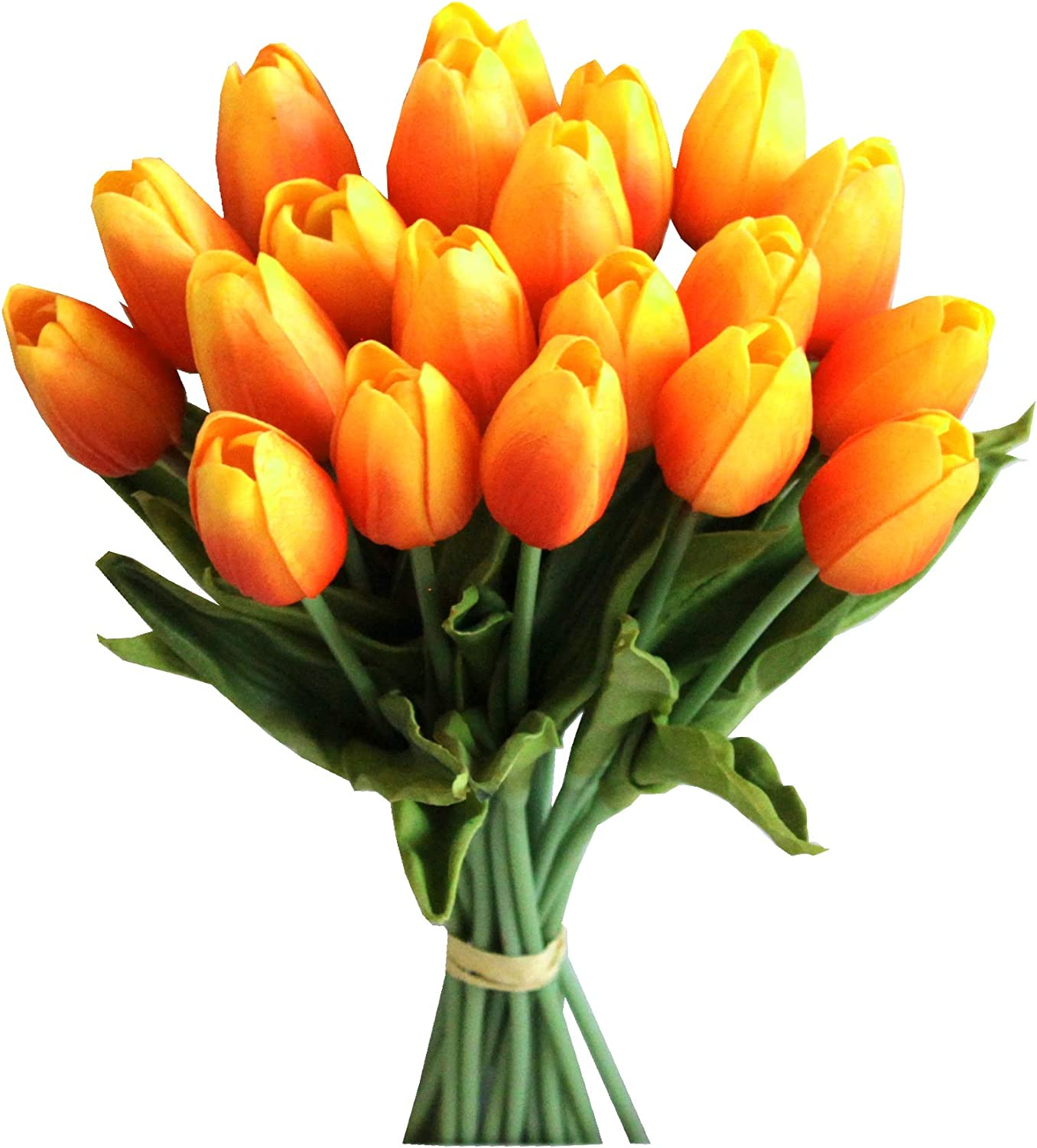 """Mandy's 20pcs Orange 14"""" Artificial Latex Tulips Flowers for Party Home Decoration(vase not Include)"""