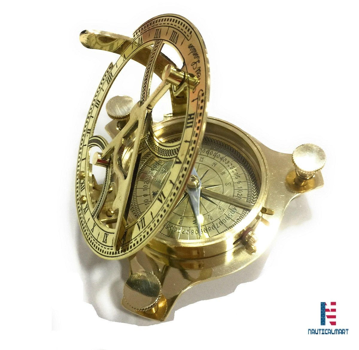 NM034809A Brass Sundial Compass 3.5'' - Case Pack of 16 by NAUTICALMART