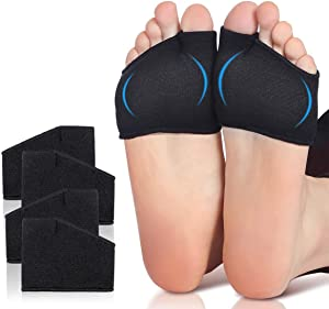 Metatarsal Pad - Medium Size (Women 5 to 13.5, Men 6 to 12), 2 Pairs Ball of Foot Cushion with Gel Pads for Foot Problems,Fabric Compression Soft Foot Care Pads, Relief Foot Pain - Black