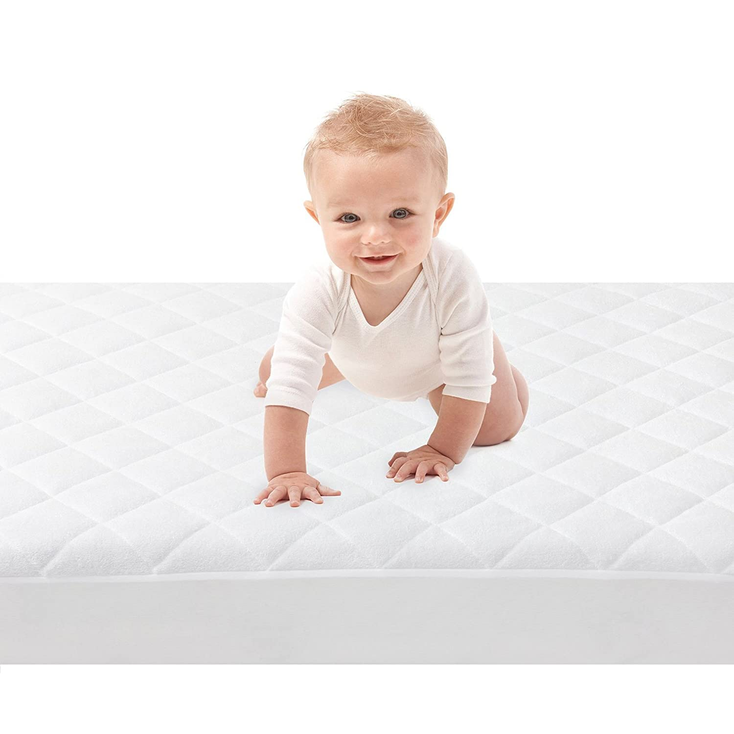 Super Soft and Ultra Absorbent Prevents Stains 52 inches by 28 inches 9 Inch Extra Long Bed Skirt with Elastic Bottom Quilted and Fitted Bamboo Crib Mattress Protector Washable and Dryer Safe Crib Size