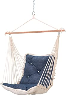 product image for Hatteras Hammocks Platform Indigo Sunbrella Tufted Single Swing, 350 LB Weight Capacity, Handcrafted in The USA, Perfect for Indoor or Outdoor Use