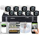 Kit DVR Intelbras 8 canais H.265 1TB 8 câmeras Full HD 20m