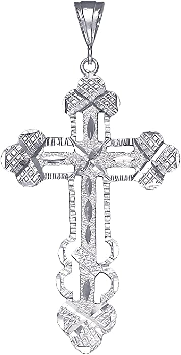 """925 Sterling Silver Cross Charm Pendant Necklace with Diamond Cuts and 18/"""" Chain"""