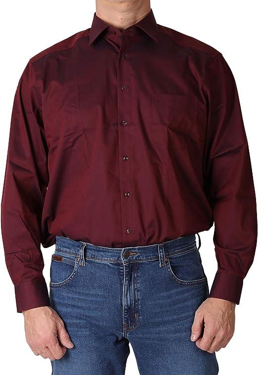 MARVELIS Comfort Fit Hemd Langarm Uni Popeline einfarbig reine Baumwolle