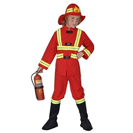 WIDMANN 55707 - Niño traje de bombero, túnica, pantalones, la cobertura a paso misma y casco luminosa, tamaño 140