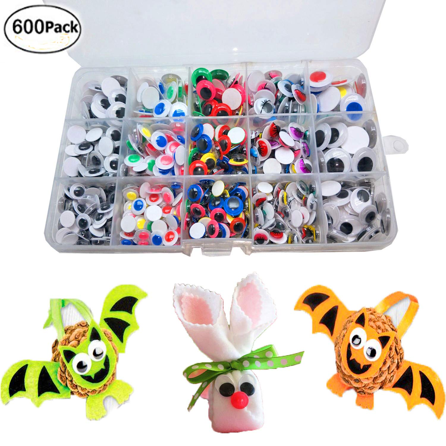 600Pcs Wiggle Eyes - Googly Eyes with Self-Adhesive for DIY Scrapbooking Craft Supplies/Toy Accessories with Storage Box by BellaBetty (Assorted Sizes, Multicolors) by BellaBetty