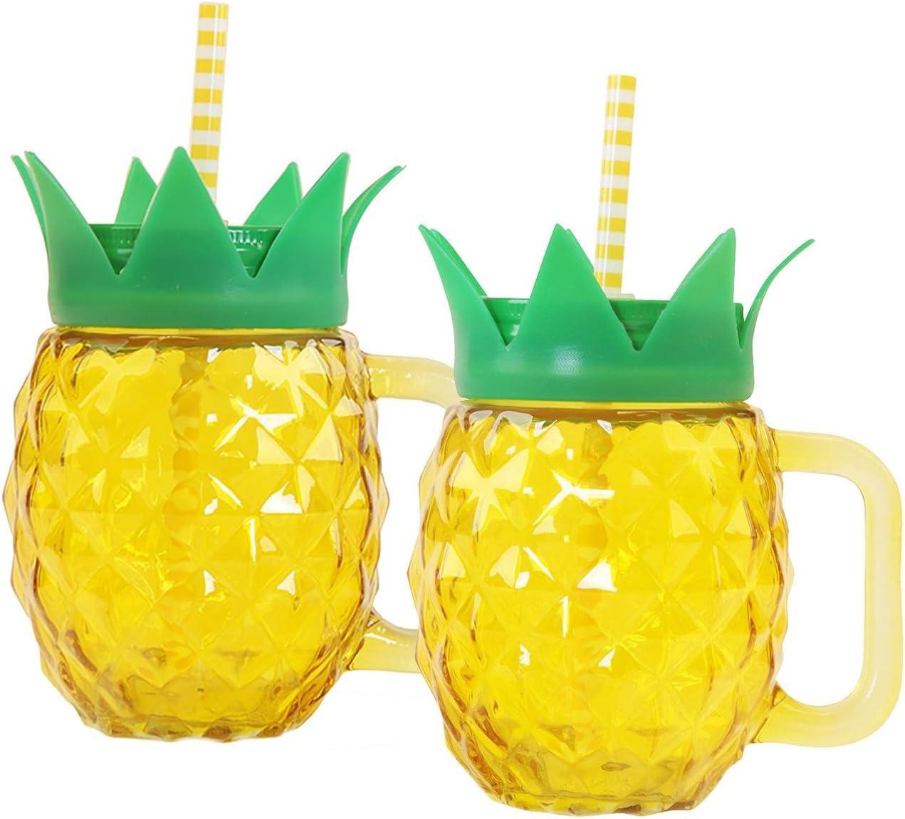 Set de 2 Vasos/Jarras de vidrio en forma de Piña con Asa y ...
