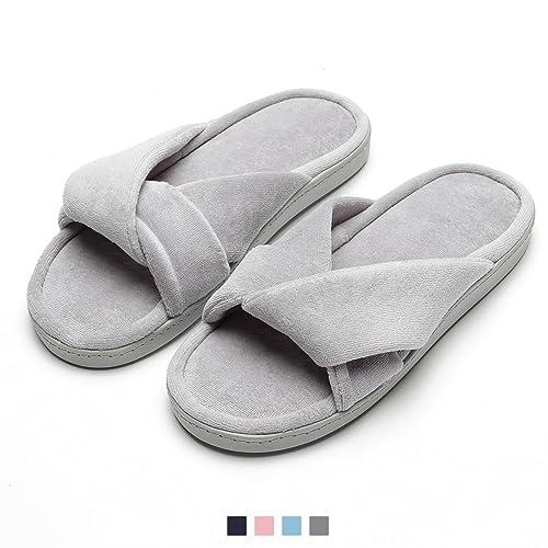 Zapatillas de Casa de Mujer Invierno - Zapatillas Casa Ultraligero Cómodo y Antideslizante, Zapatilla de Estar por Casa con Ornamento Nudo para Mujer Fluff ...